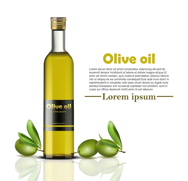 Olive oil bottle realistic. food identity branding, packaging design