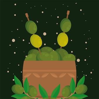 Коробка оливкового масла с семенами