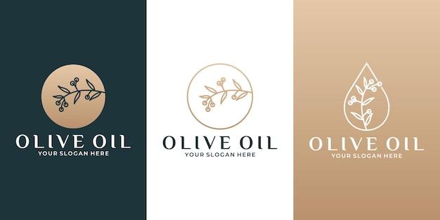 オリーブオイルの枝のロゴデザインテンプレートサロン、スパ、ハーブ、化粧品、エレガンスなど