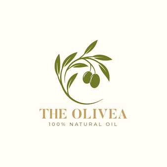 オリーブオイルの枝のロゴのヴィンテージデザイン