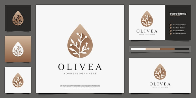 Olive oil and branch luxury logo design and business cards