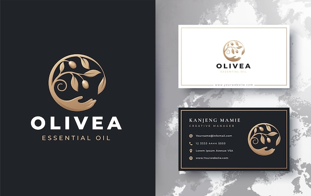 Olive oil branch with hand up logo and business card design