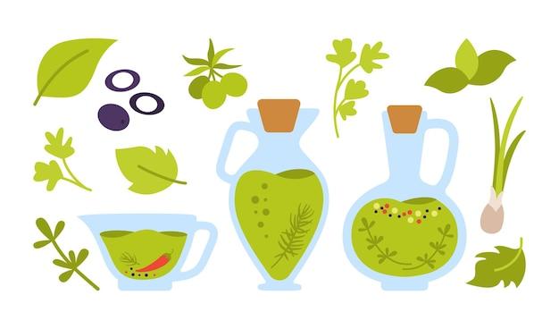 올리브 오일 만화 세트. 유기농 식품 개념 평면 디자인. 오일 유리 병, 그릇 및 올리브 양파와 향기로운 허브