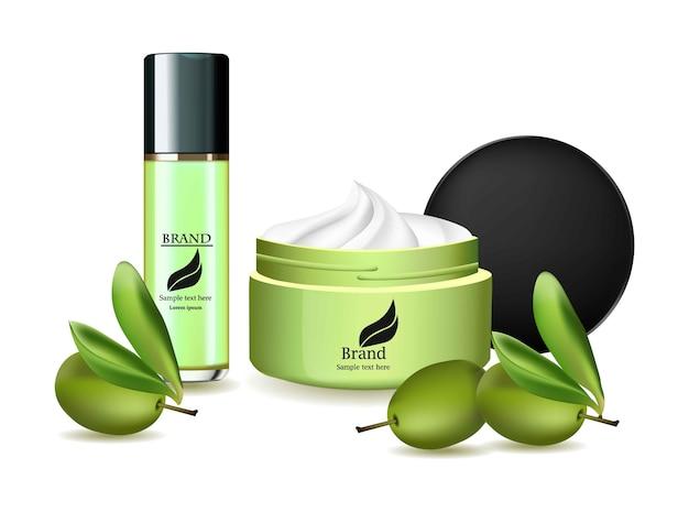 オリーブオイルクリームとスプレーセットベクトル現実的な化粧品。製品パッケージラベルデザイン