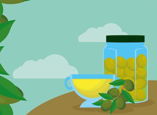 Чашка оливкового масла и банка каменщика