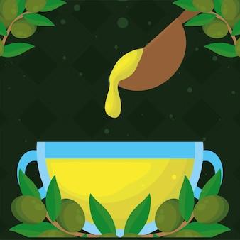 Чашка оливкового масла с ложкой