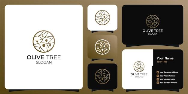 Логотип дизайна оливкового масла и визитная карточка