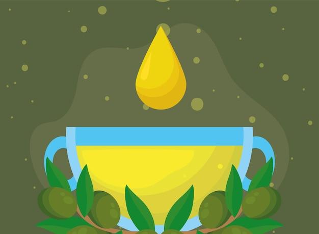 Капля оливкового масла в чашке и семена