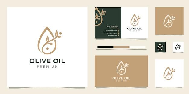 オリーブオイルの液滴と木の枝、美容、ケア、スパ製品のシンボル。