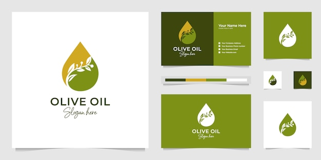 Olive oil droplets and tree branches, symbols for beauty salon, skincare, cosmetic, yoga and spa products.