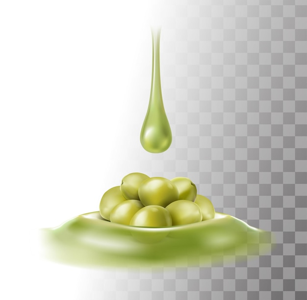 Gocce di olio d'oliva su olive verdi