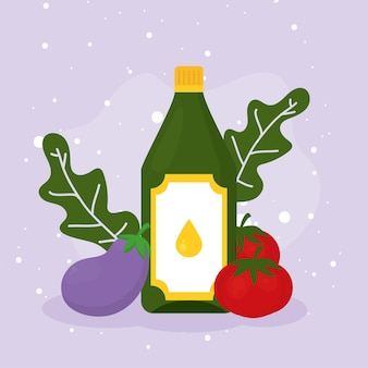 紫色の背景にオリーブオイルナスとトマト
