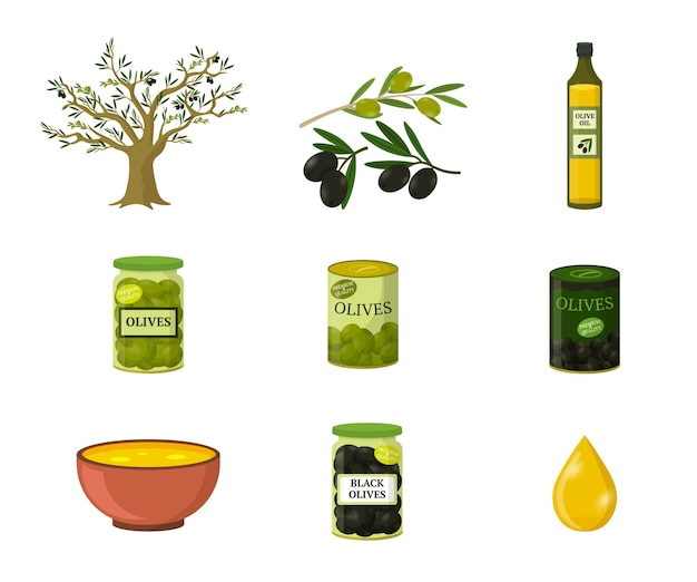 Olive oil flat illustrations set, mediterranean food ingredient, oil production isolated cliparts pack on white background, cartoon black and green olives in glass bottle and metal cans.