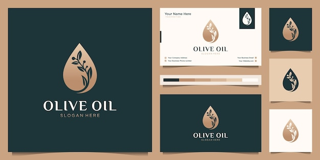 Olive oil flower branch tree luxury template, oil drop feminine logo design and business card
