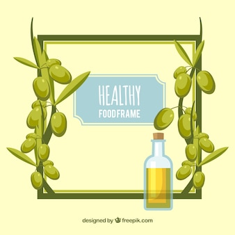 Olive oil frame background