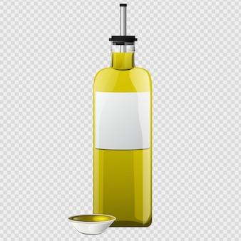 漫画のスタイルで設定されたオリーブオイルガラス瓶とボウル。