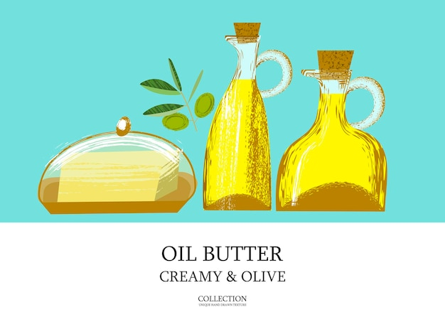 Olive oil in a glass bottle and butter. vector illustration with unique vector hand drawn texture. olive sprig.