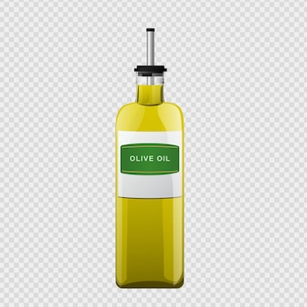 Olive oil glass bottle in cartoon style.