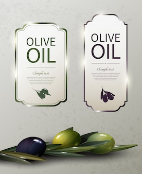 Глянцевые логотипы бренда оливкового масла с натуральными органическими зелеными и черными оливками