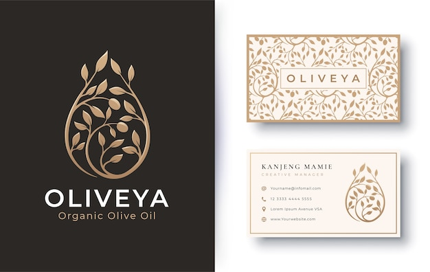 Olive oil golden logo with business card
