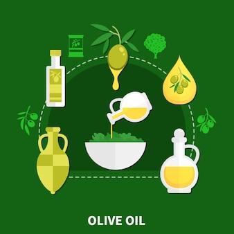 Оливковое масло в различной упаковке, миска с салатом, плоский состав