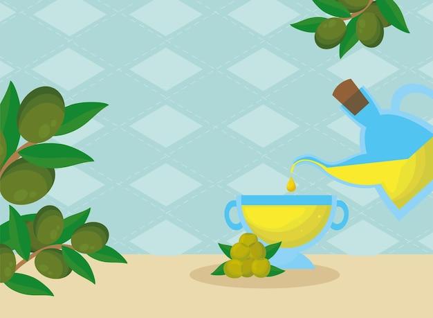 Банка оливкового масла и чашка с семенами