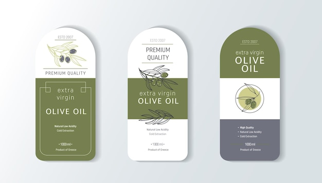 Шаблоны дизайна набор этикеток оливкового масла для упаковки масла