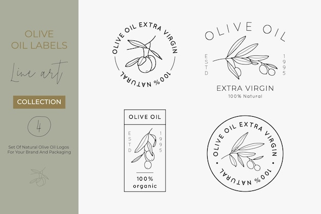 Olive oil label set in a trendy minimal linear style. vector logo and concepts for packaging of extra virgin oil and other products
