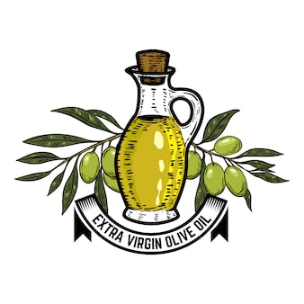 Olive oil label template. olive branch.  elements for logo, label, emblem, sign.  illustration