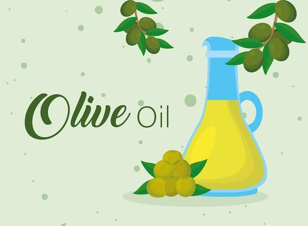 Открытка с надписью оливковое масло с бутылкой