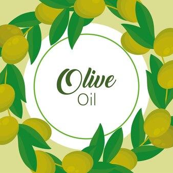 Надпись оливкового масла с семенами и листьями