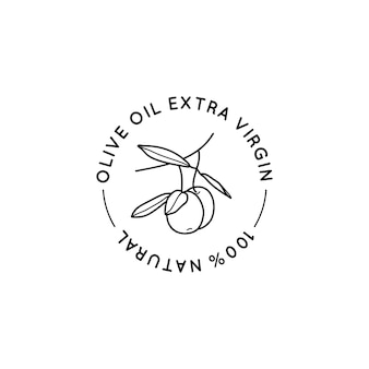 Olive oil line logo. outline botanical branch with leaves and with fruit in a modern minimal style. vector round icon, sticker, stamp, tag for oil, soap, cosmetics