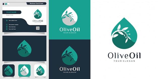 オリーブオイルのロゴと名刺のデザインテンプレート、ドロップ、ブランド、オイル、美容、緑、アイコン、健康、