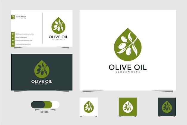 オリーブオイルのロゴと名刺のデザインテンプレート、ドロップ、ブランド、オイル、美容、緑、アイコン、健康