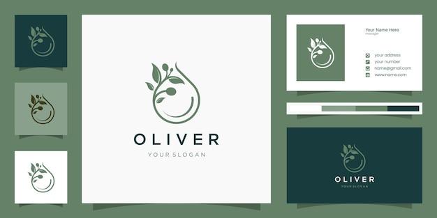 Логотип оливкового масла и шаблон дизайна визитной карточки