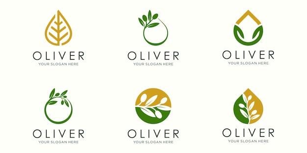 Логотип оливкового масла и набор иконок. дизайн шаблона вектор.