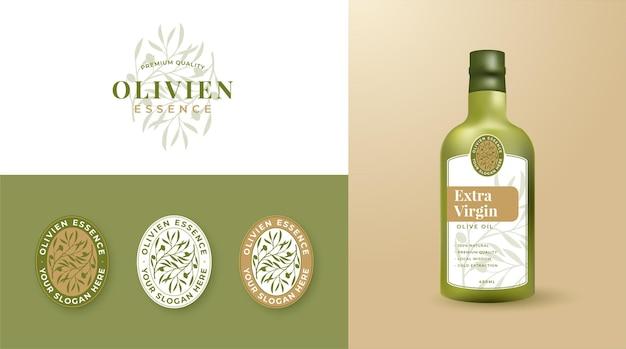 オリーブオイルのロゴとラベルデザインのセット