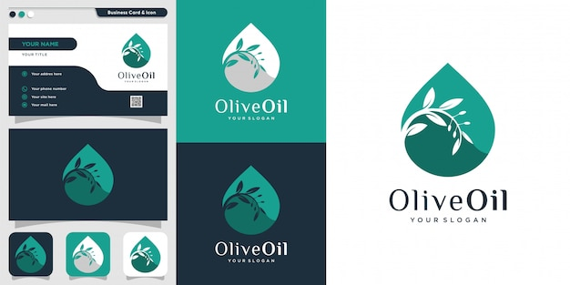 Olive oil logo and business card design template, drop, brand, oil, beauty, green, icon, health,