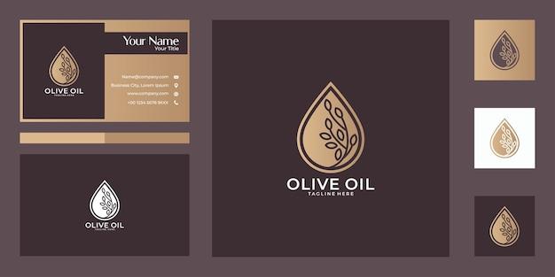 Дизайн логотипа оливкового масла и визитная карточка