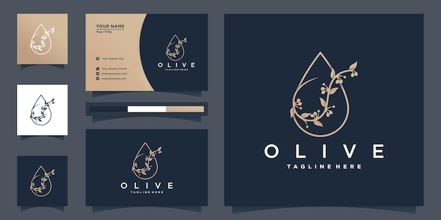 Olive oil logo design inspiration with gold beauty flower style and business card premium vector