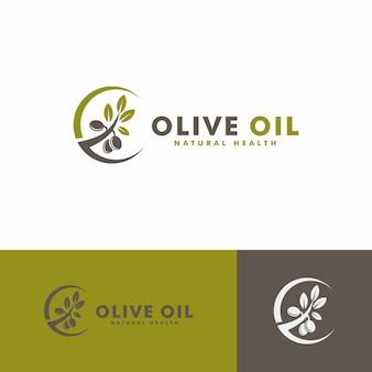 オリーブオイルのロゴデザイン。自然の健康のロゴタイプ