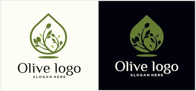 オリーブオイルロゴデザインオリーブフードロゴデザインテンプレートオリーブオイルドロップ高級ロゴ