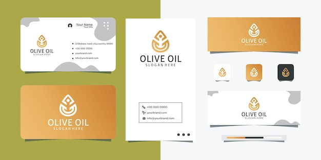 Olive oil logo design simple design and business card