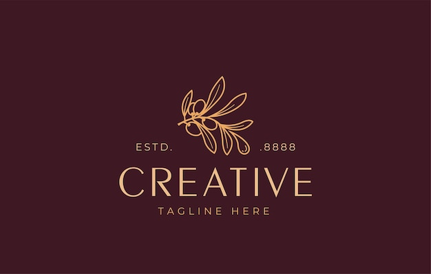 Шаблон дизайна логотипа оливкового масла вектор эстетической ветви оливкового дерева, выпускающей каплю масла