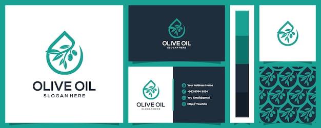 비즈니스 카드 개념 및 패턴 올리브 오일 로고 디자인