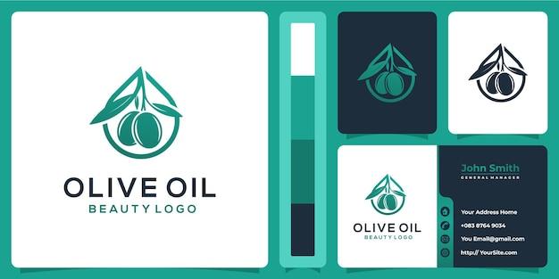 Дизайн логотипа оливкового масла с концепцией визитной карточки