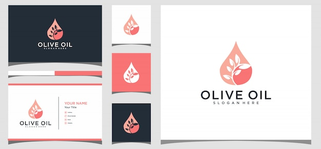 Olive oil logo design with business card template
