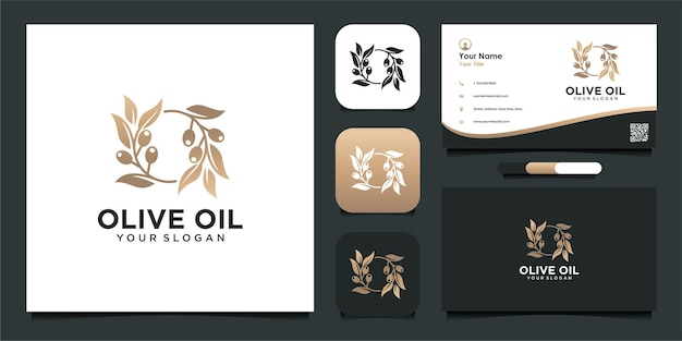 Olive oil logo design with business card