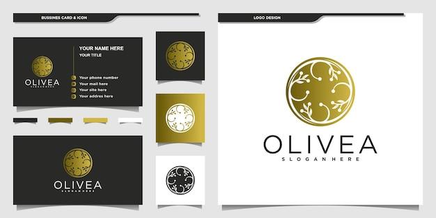 黄金のグラデーションカラースタイルプレミアムベクトルとオリーブオイルのロゴデザイン