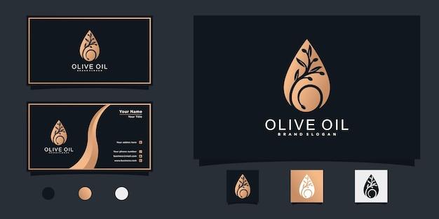 Дизайн логотипа оливкового масла с современным градиентным символом капли воды и визитной карточкой premium векторы
